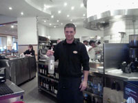 Rob working at the California Pizza Oven